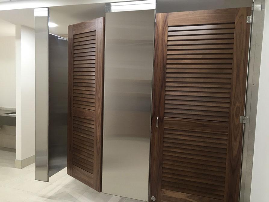 ceiling mounted bathroom stall doors