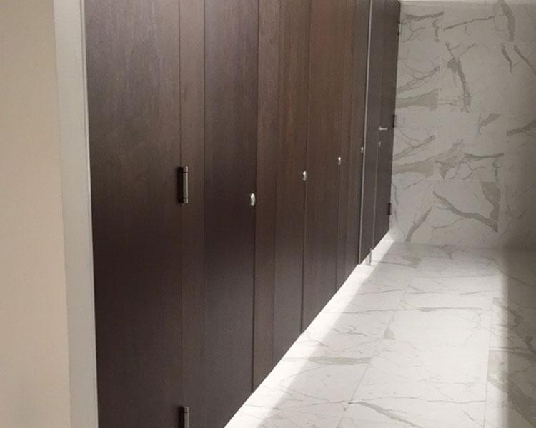 wood veneer bathroom stalls